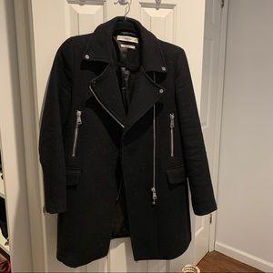 Mango Wool Blend Long Coat Jacket Black Silver